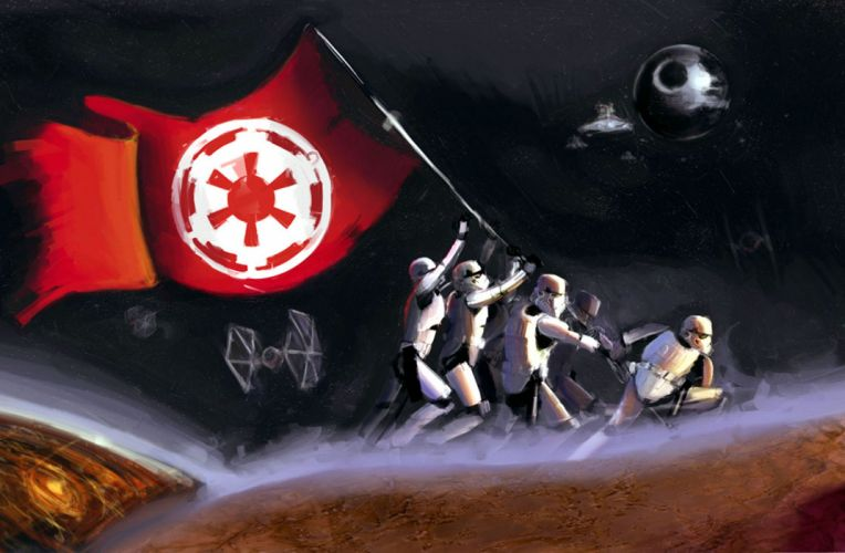 Stormtroopers Star Wars Flag Drawing wallpaper