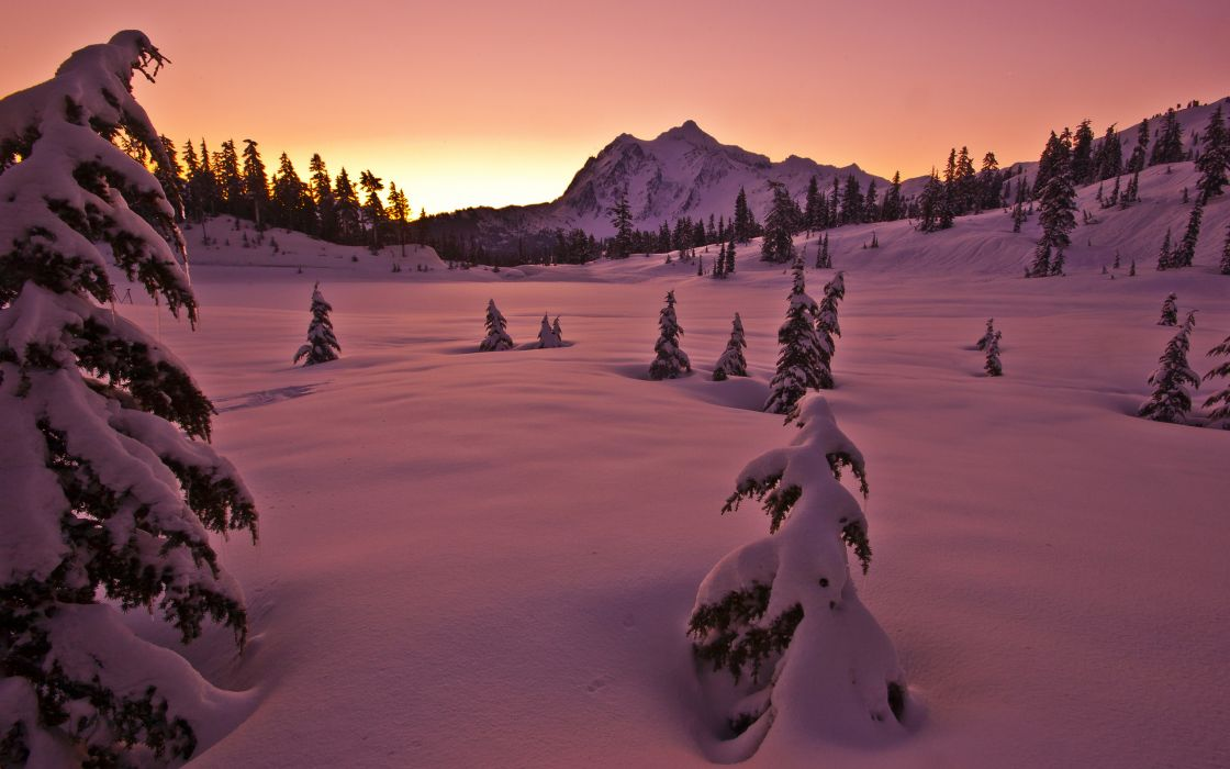 sunset winter snow mountains trees landscape wallpaper