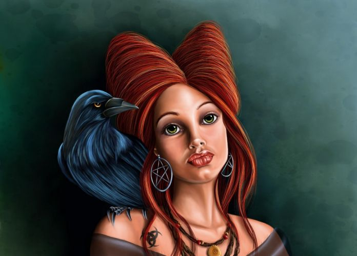 tattoo girl dark gothic witch wallpaper