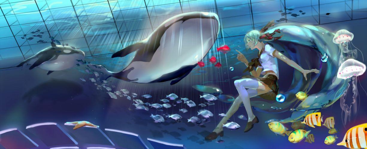 vocaloid animal bottle miku fish hatsune miku long hair par_ seifuku thighhighs underwater vocaloid wallpaper