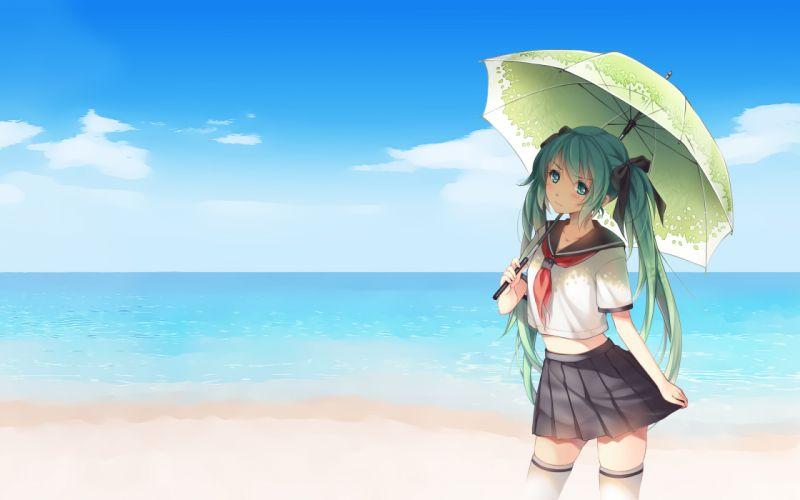 vocaloid aqua hair beach hatsune miku photoshop tidsean twintails umbrella vocaloid wallpaper