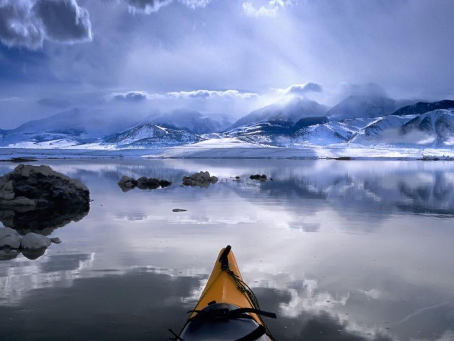water abstract blue winter lights rocks canoe rowing Sports Canoeing wallpaper