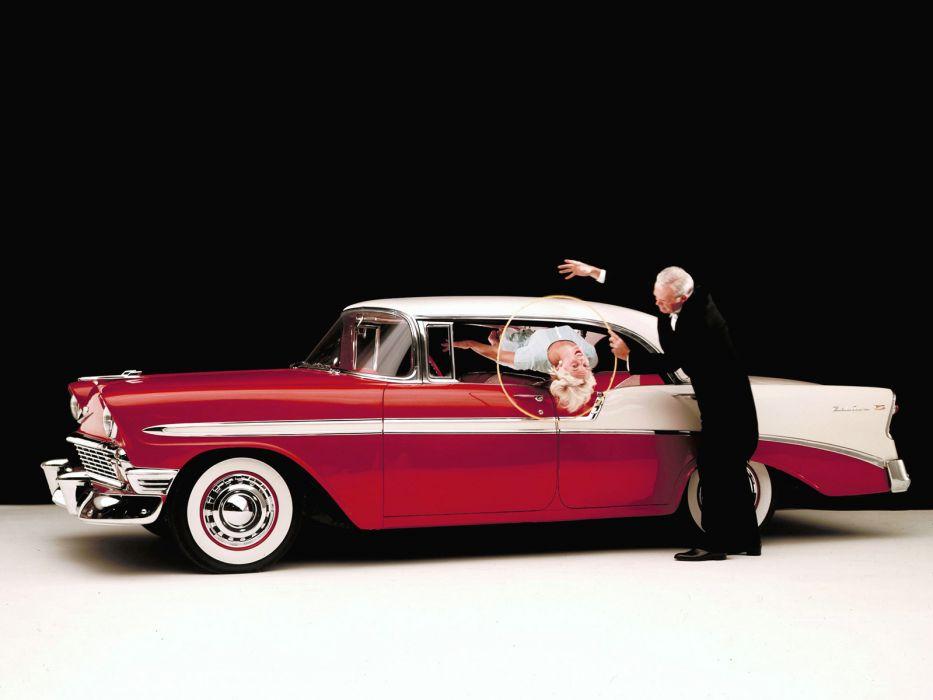 1956 Chevrolet Bel Air Sport Sedan retro  g wallpaper