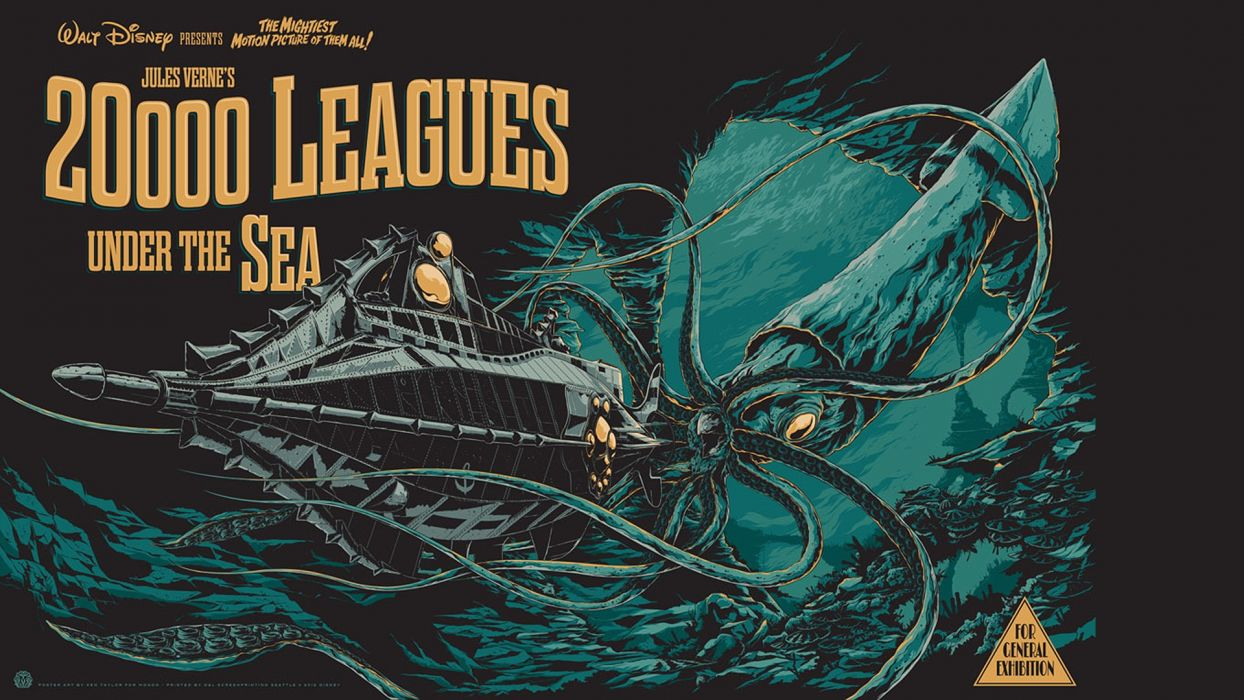 20000 Leagues Under the Sea Disney Squid Giant Squid Submarine Underwater wallpaper
