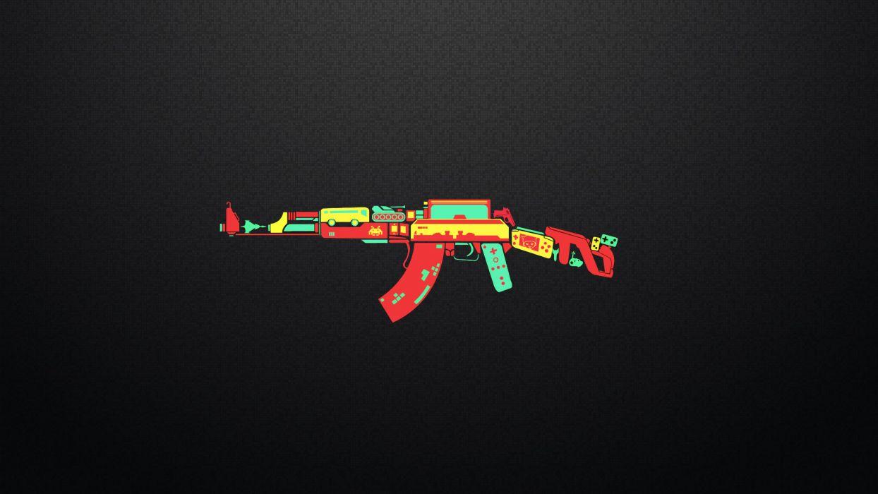 AK-47 controller game weapon funny humor wallpaper