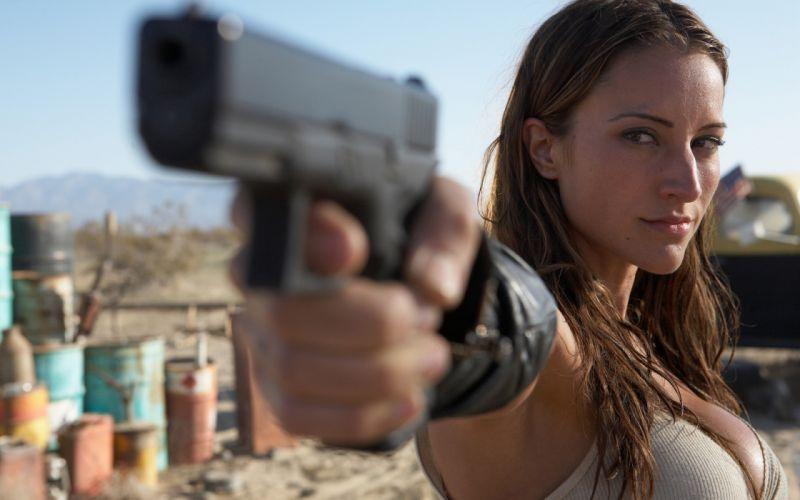 Brunette Handgun weapon gun wallpaper