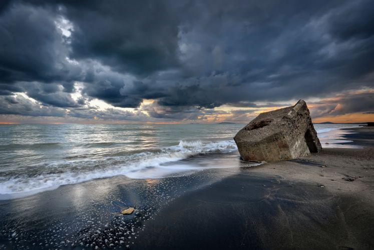 clouds sky sea beach wallpaper