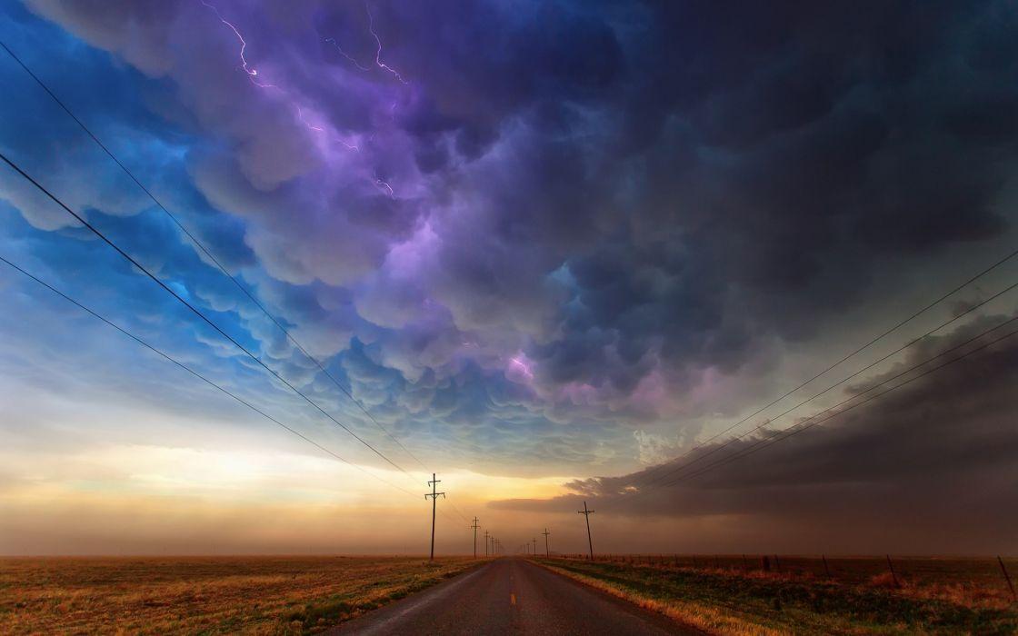 Clouds Storm Road Lightning Power Line wallpaper