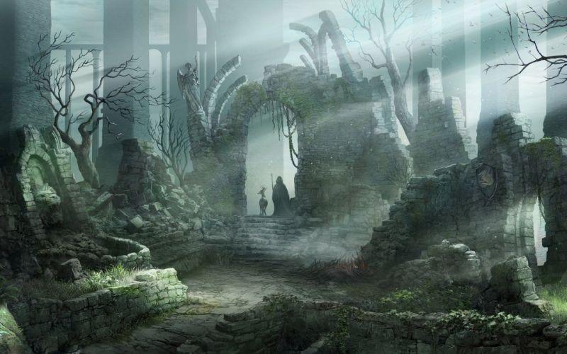 demons souls fantasy ruins wallpaper