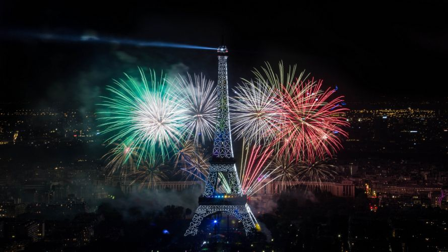 Eiffel Tower Paris Night Fireworks wallpaper