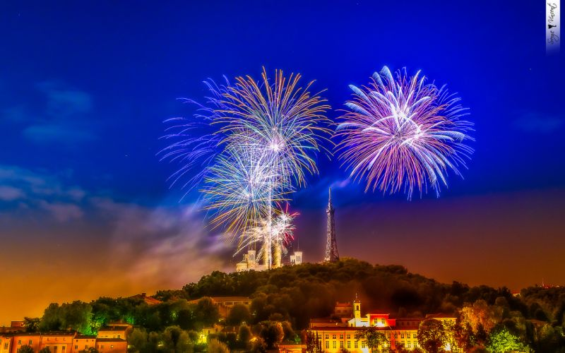Fireworks Tower Buildings wallpaper