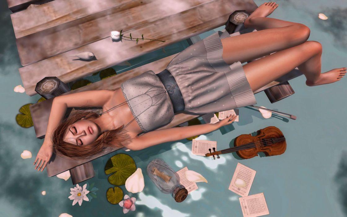 girl water violin flowers fantasy girl mood wallpaper