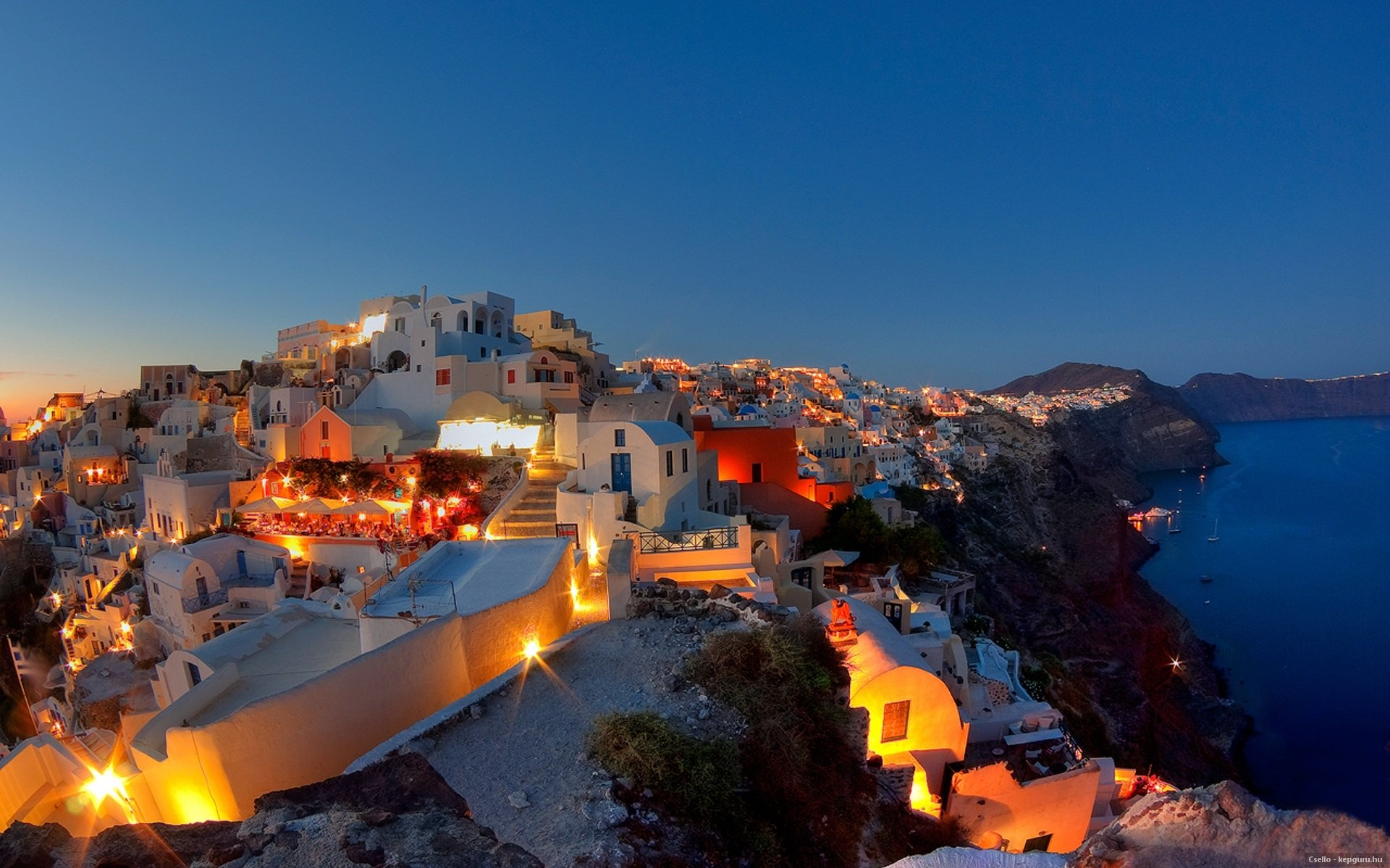 Greece Summer Santorini Night G Wallpaper