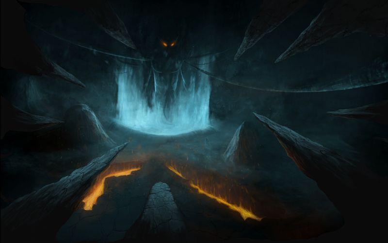 demon cave lava gorschie eyes spikes light dark fantasy wallpaper