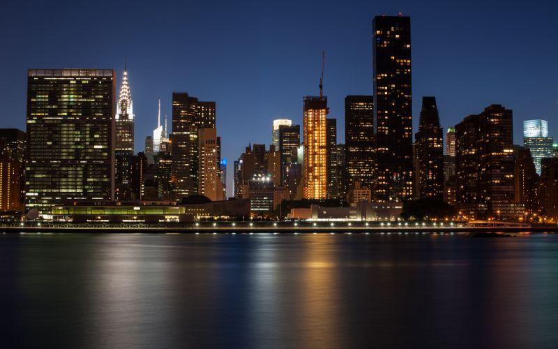 New York Buildings Skyscrapers Night wallpaper