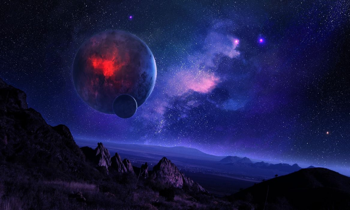 night the starry sky mountains space planet satellite terrain nebula wallpaper