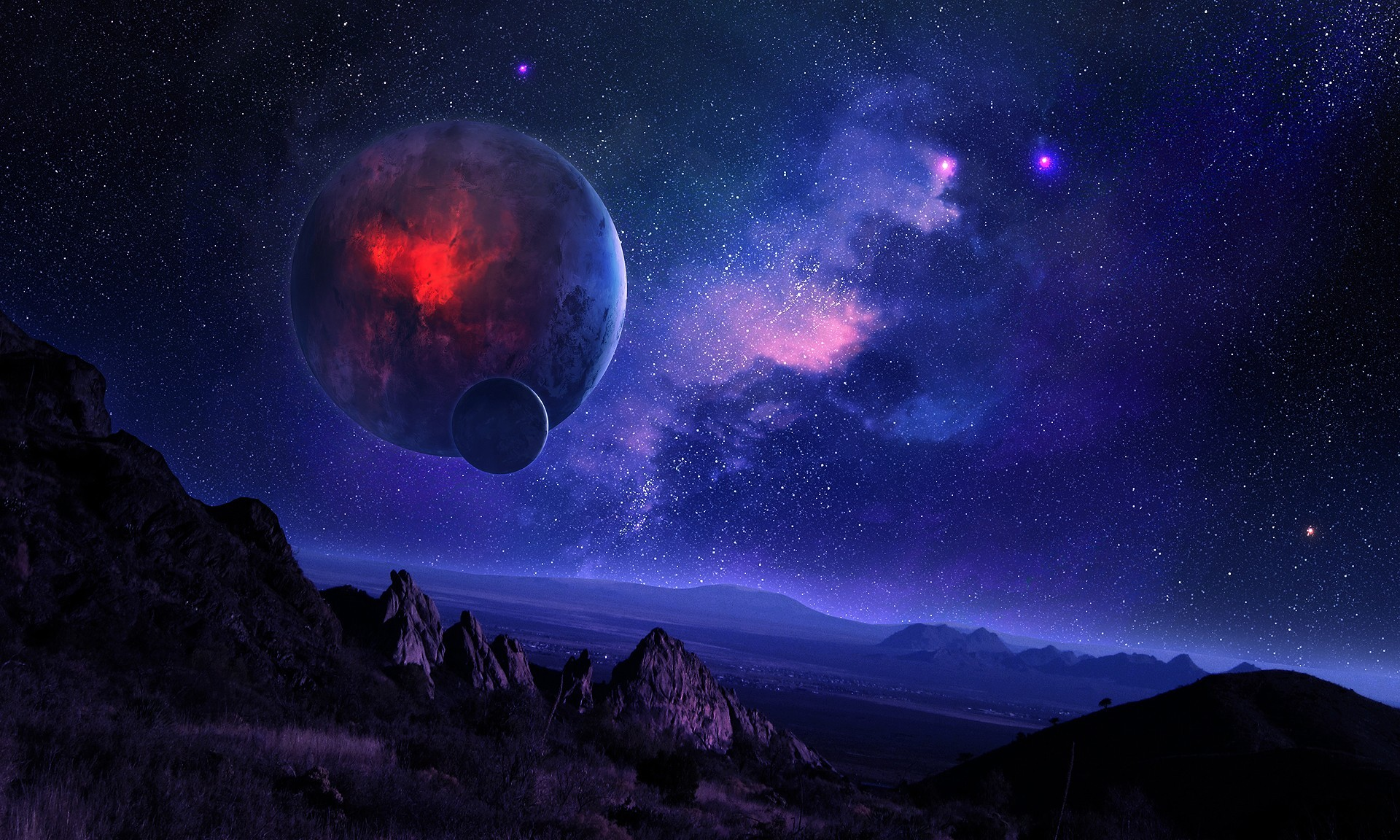 starry sky with planets - photo #1