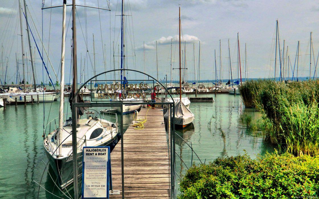 port Hungary summer Pier Pier lake sailboat wallpaper