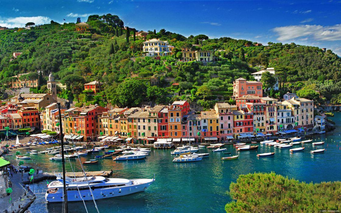port summer Italy Portofino sea bay wallpaper