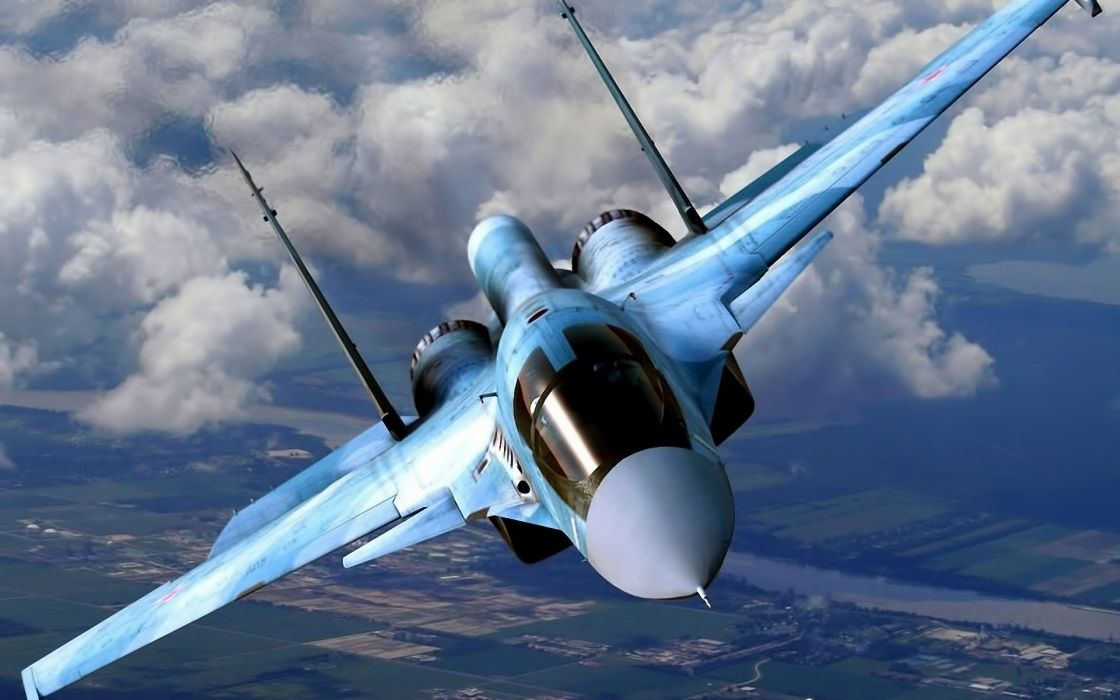 aircraft Su-34 clouds flying fighter jet jets military russian wallpaper