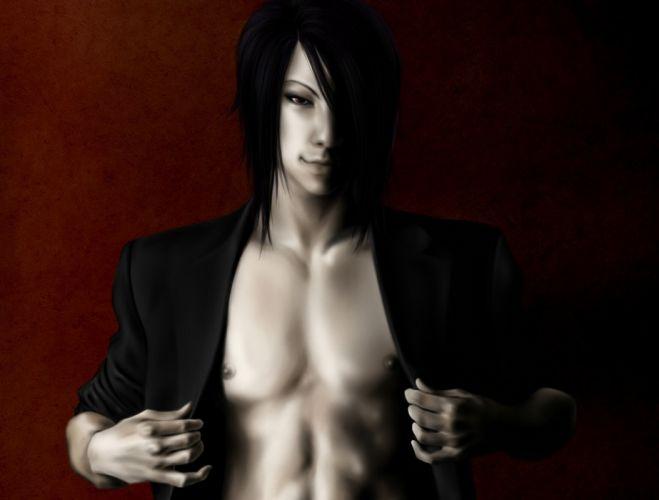Art Kuroshitsuji black butler sebastian michaelis demon man background smile wallpaper