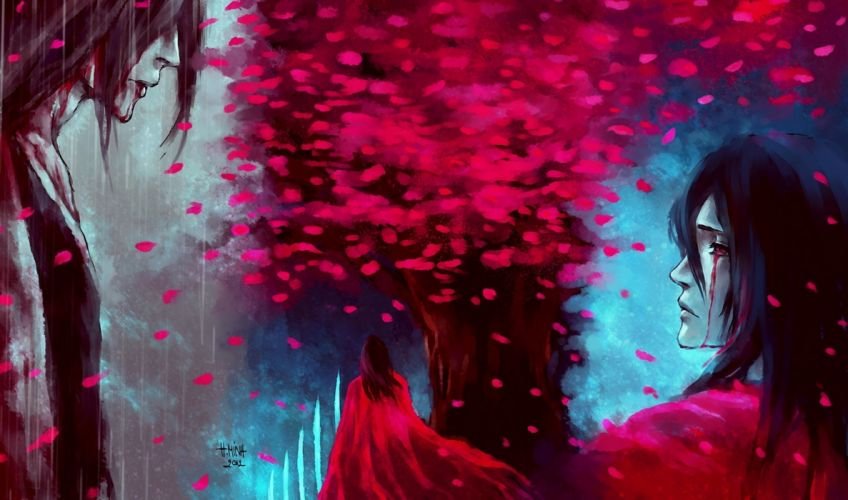 Art nanfe bleach byakuya Kuchiki guy cherry tree back rain wallpaper