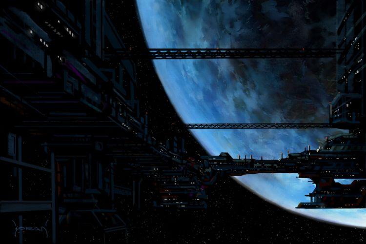 art space planet ship station spaceship sci-fi wallpaper