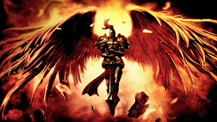art league of legends wings sword warrior fantasy wallpaper
