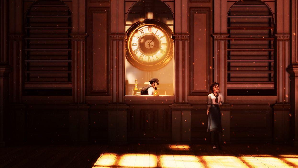 Bioshock Infinite Elizabeth Clock steampunk wallpaper