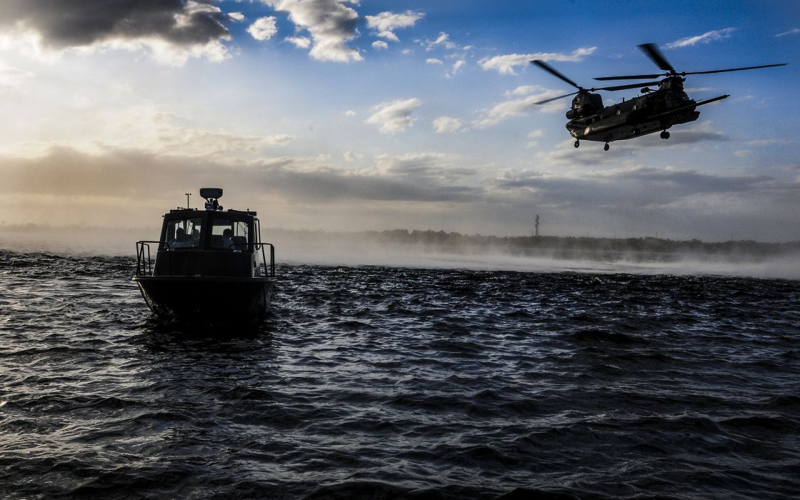 Boat Helicopter Ocean military wallpaper