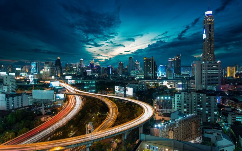 Buildings Skyscrapers Night Freeway Highway Lights Timelapse wallpaper