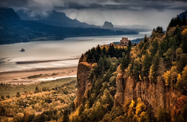 Columbia River Gorge river mountain forest autumn wallpaper