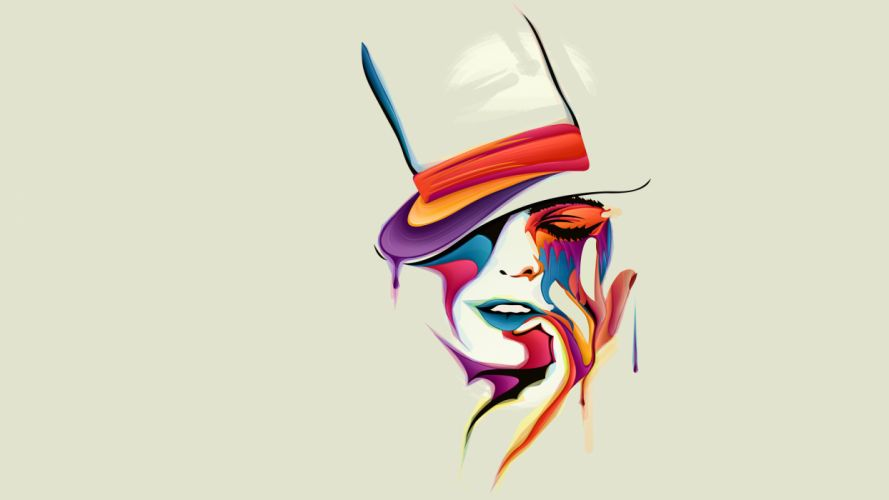 Face Abstract White girl girls paint drops mood psychedelic wallpaper