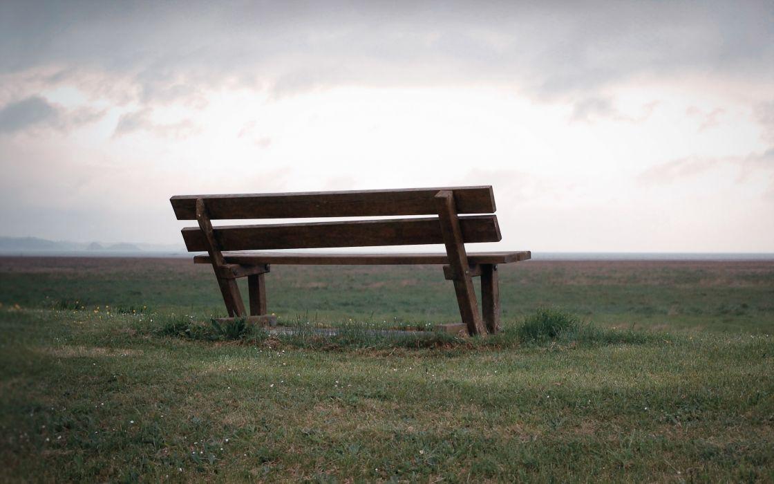 field  bench  landscape mood wallpaper