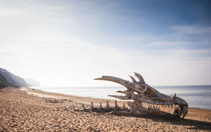 Game of Thrones Dragon Skull Skeleton Bones Beach fantasy dark wallpaper