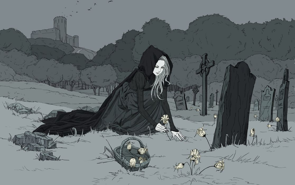 girl monochrome castle tombs birds flowers gothic sad cemetery dark fantasy wallpaper
