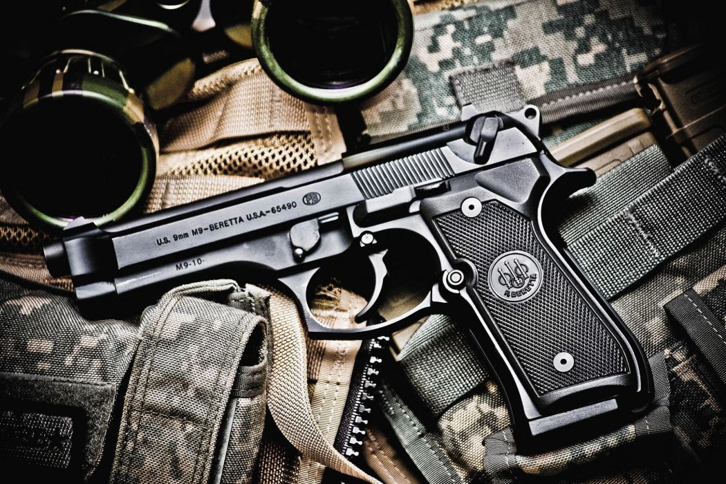 gun pistol caliber 9-mm Beretta M9 aeYaeYBeretta M9 aeYaeYsemi-automatic pistol camouflage binoculars wallpaper