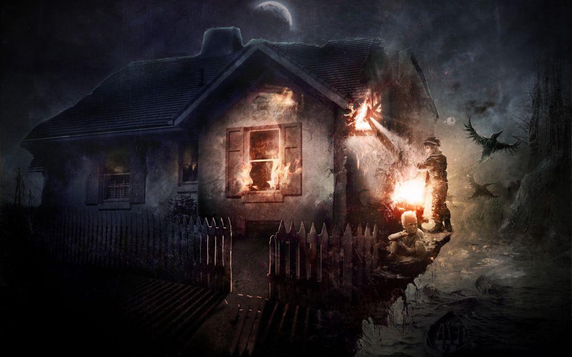 Home Night Kids Fire Lights Fence Bird Dark Fire Horror Fantasy Wallpaper