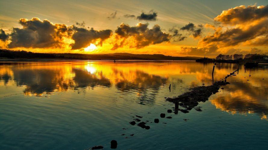 Lake Sunlight Sunset Clouds Reflection wallpaper