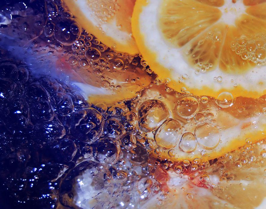 lemon water bubbles close-up wallpaper