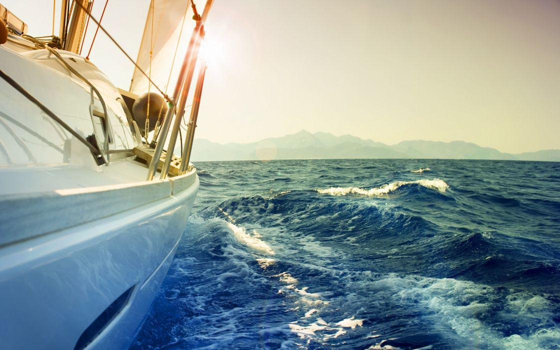 mood situation landscapes wind ocean water sea sky waves spray foam boat boats yacht yacht ship ships boat boats wallpaper