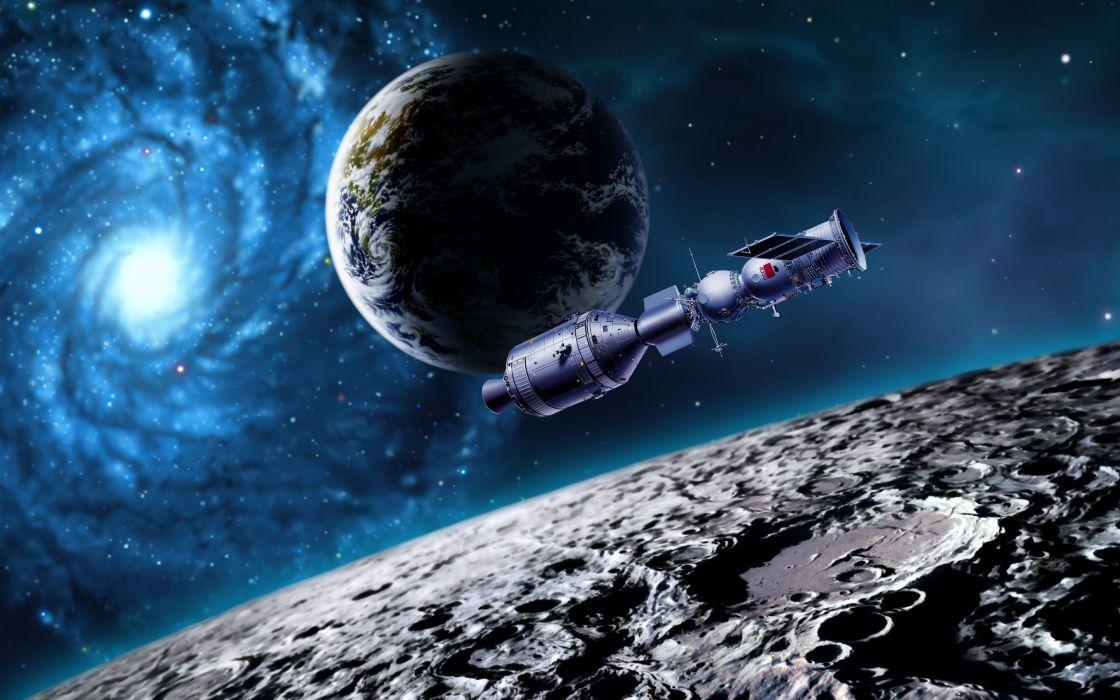 moon  earth  satellite  planet spaceship sci-fi wallpaper