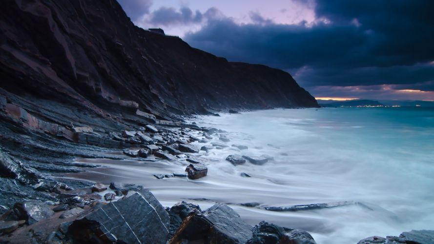 Ocean Rocks Stones Beach Shore wallpaper