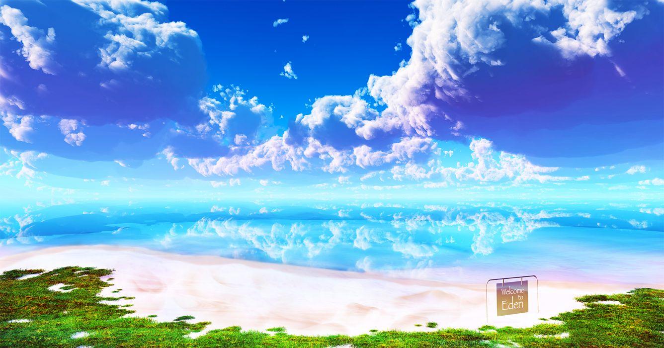 original beach clouds grass landscape original scenic sky water wallpaper