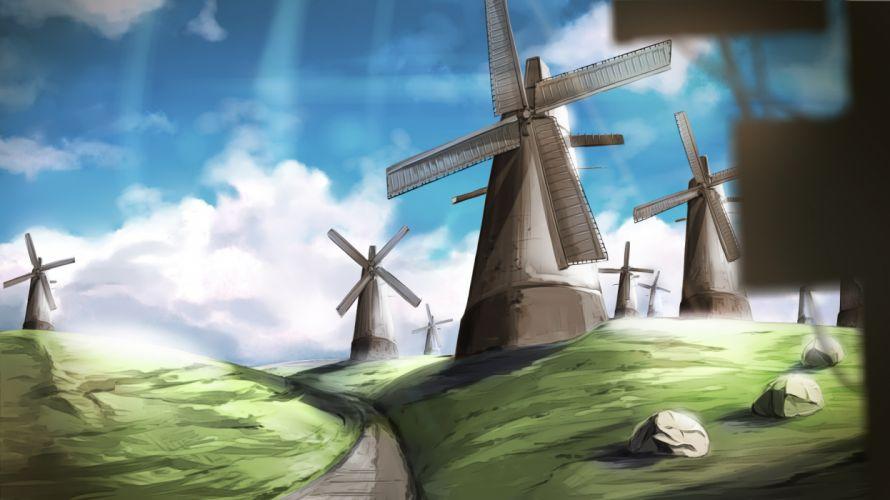 original clouds grass landscape original scenic sky windmill wallpaper