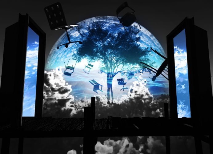 original clouds original polychromatic scenic sky tree y-k wallpaper