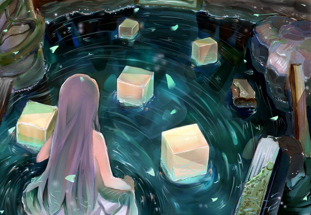 original long hair original petals scenic water wallpaper