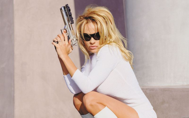 Pamela Anderson pam blonde weapon gun wallpaper