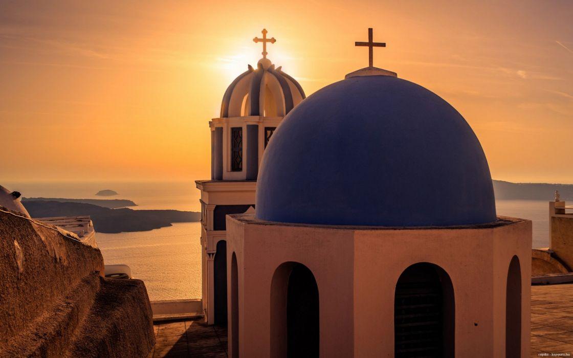 Greece Sunset summer Santorini church sea wallpaper