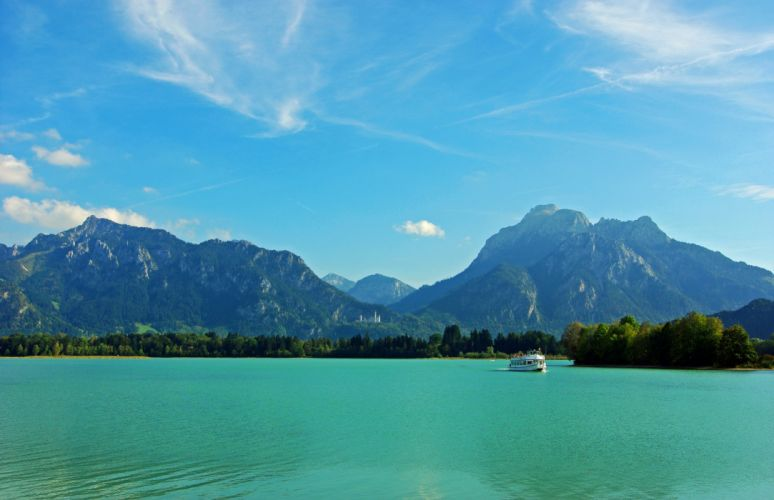 Rivers Germany Mountains Sky Scenery Bavaria Nature wallpaper